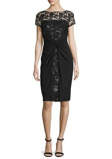 David Meister Short-Sleeve Sequined Lace Cocktail Dress  Short-Sleeve Sequined Lace Cocktail Dress