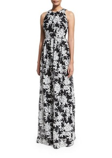David Meister Sleeveless Crewneck Floral Chiffon Gown