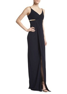 David Meister Sleeveless Faux-Wrap Column Dress