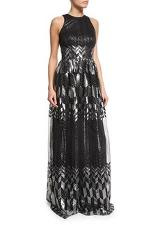 David Meister Sleeveless Metallic Printed Flowy Gown  Sleeveless Metallic Printed Flowy Gown