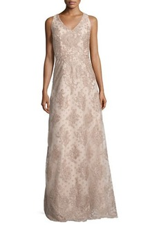 David Meister Sleeveless Polka Dot Lace Gown