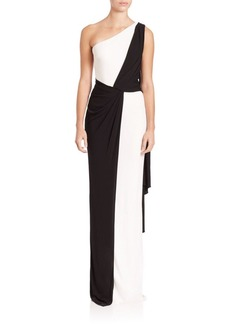 David Meister Two-Tone Draped Cape Gown