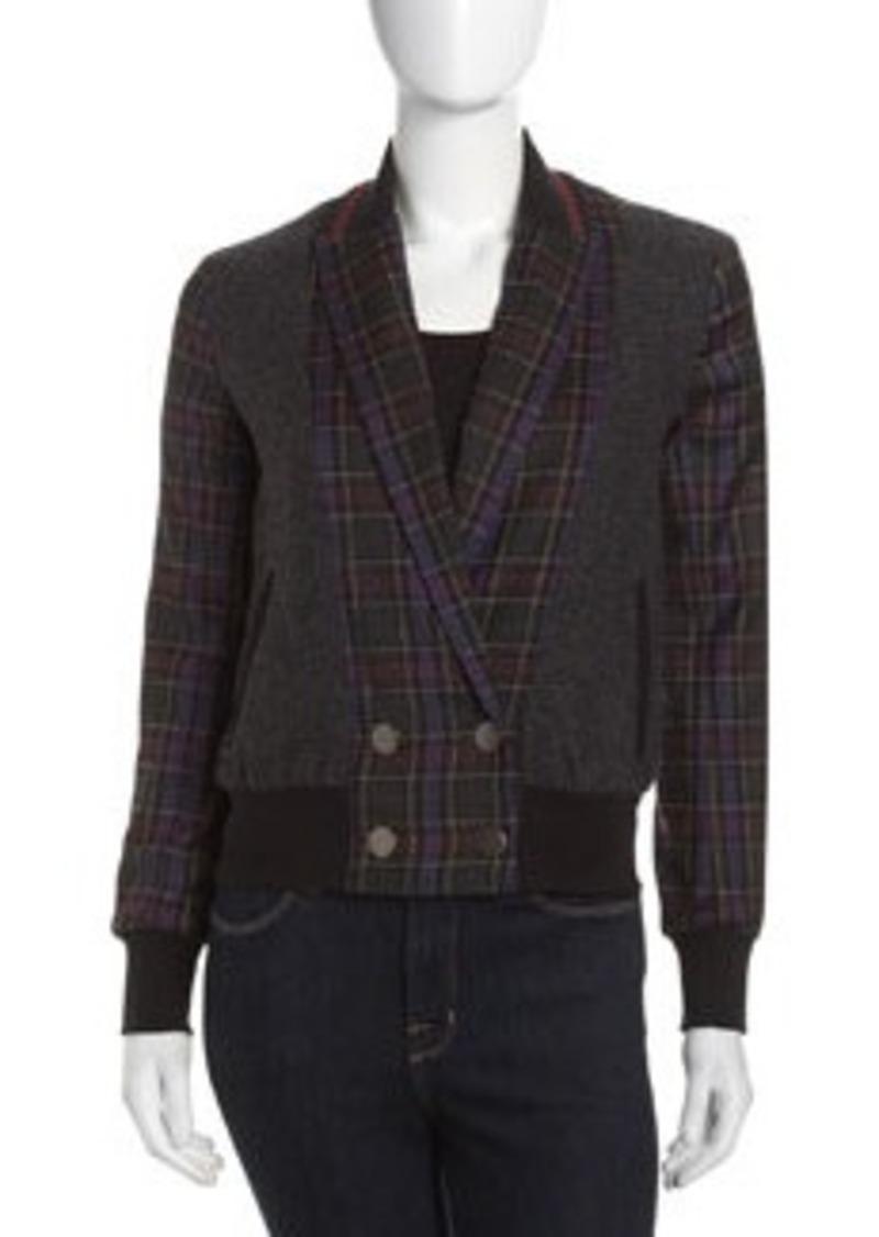 L.A.M.B. Mixed-Media Jacket, Purple/Gray