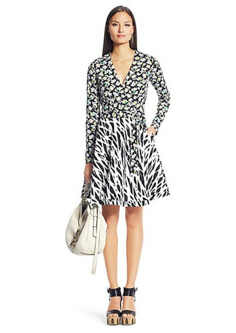 Amelia Printed Silk Combo Wrap Dress