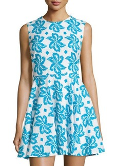 Diane von Furstenberg Sleeveless Giant Leaf-Print Fit-and-Flare Dress