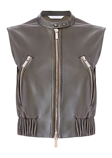 DVF Buckley Leather Bomber Vest