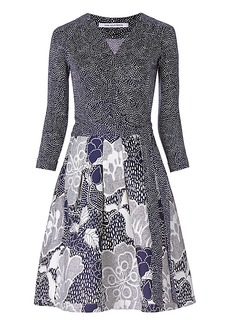 DVF Jewel Silk Combo Wrap Dress