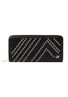 Zip Around Leather Eyelet Continental Wallet