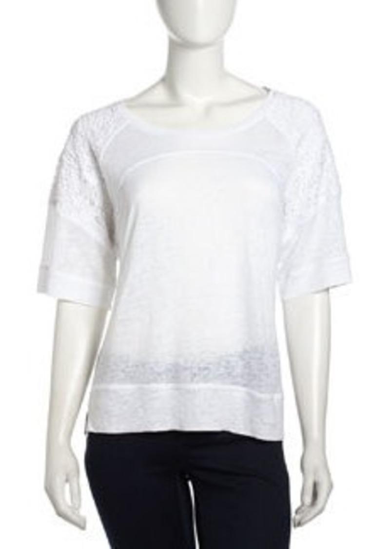 Laundry by Shelli Segal Lace-Sleeve Raglan Linen Top, Optic White