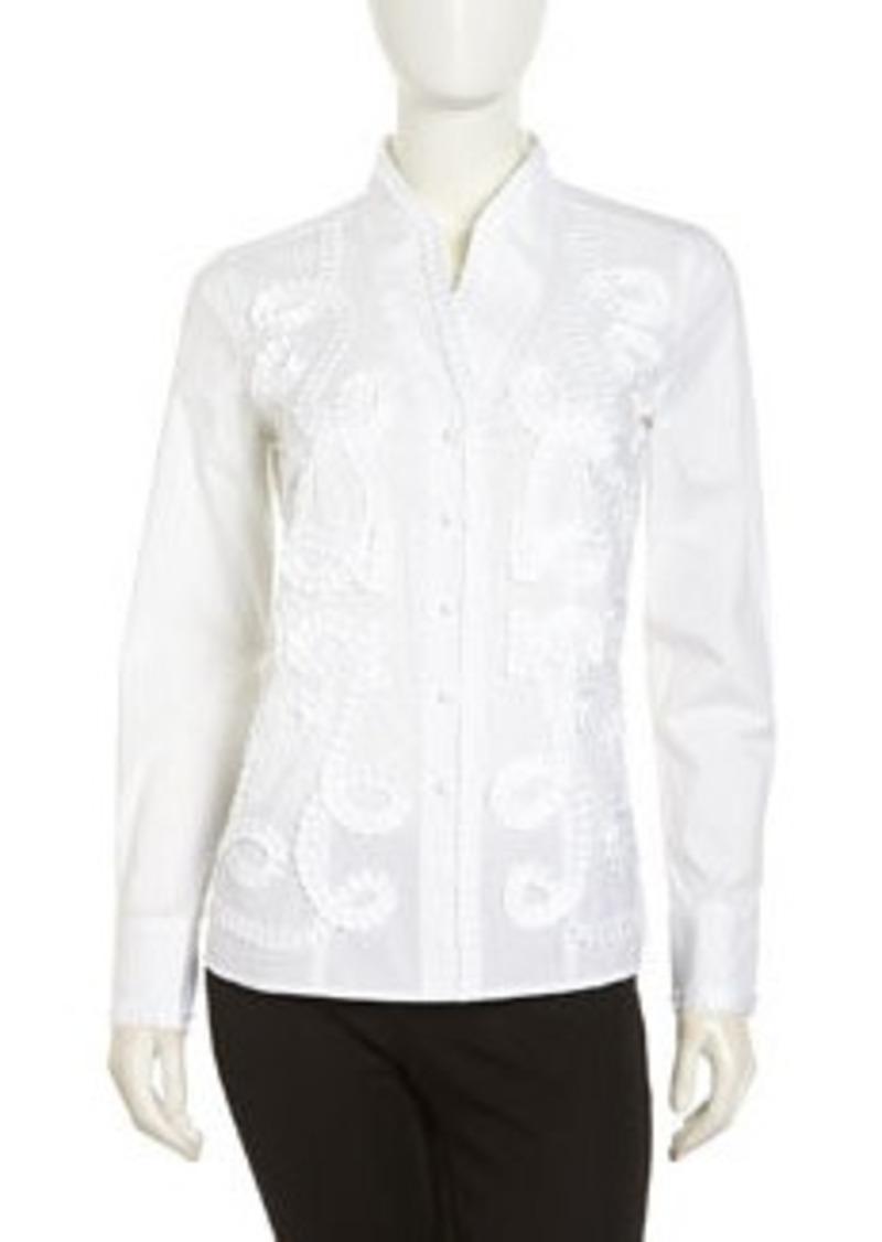 Go Silk Kimono Embellished Stretch Blouse, White