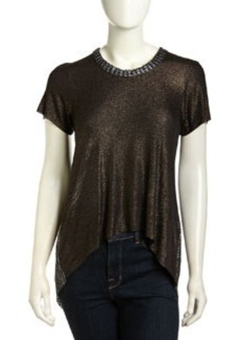 T Bags High-Low Mesh-Back Shimmer Top, Black Foil