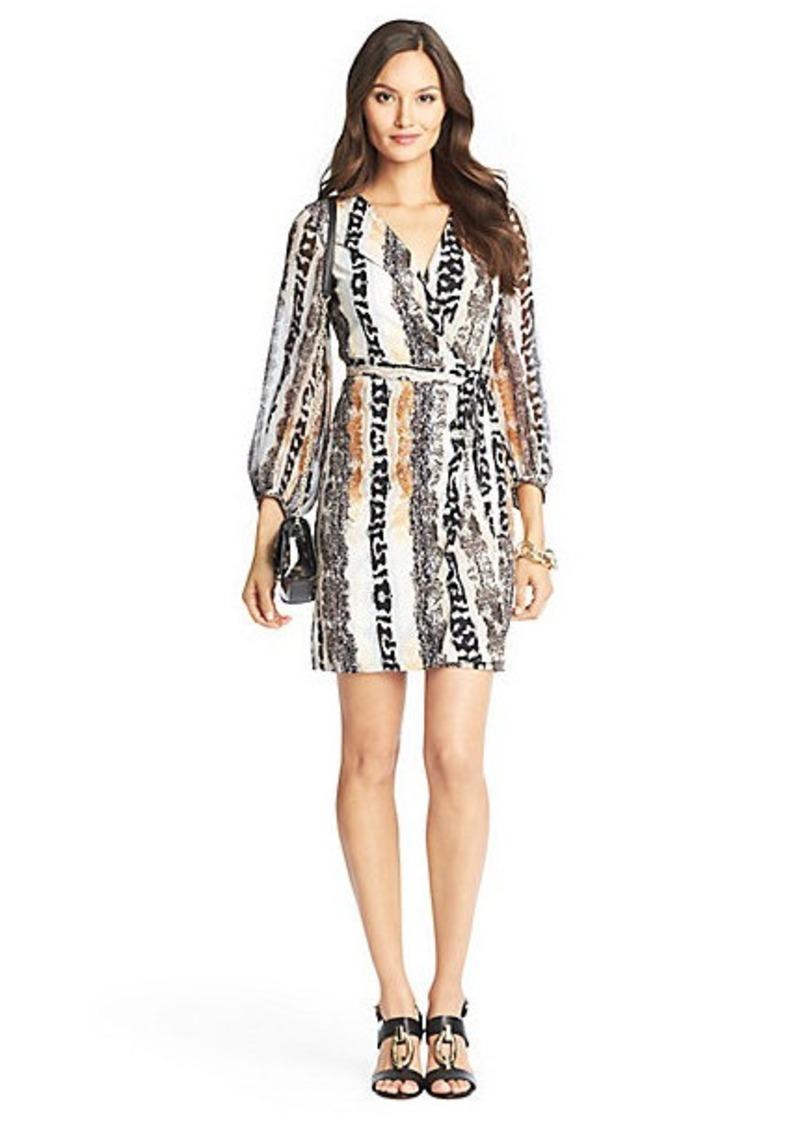 Diane Von Furstenberg Sigourney Sheer Sleeved Silk Jersey Wrap Dress