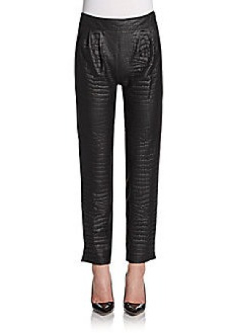 Catherine Malandrino Elodie Croc-Embossed Faux Leather Pants