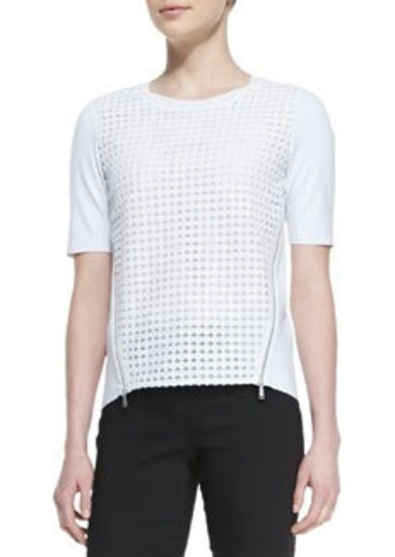 Brinson Perforated-Front Blouse with Zip Sides   Brinson Perforated-Front Blouse with Zip Sides