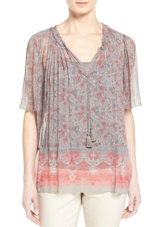 Elie Tahari 'Adele' Print Pleat Split Neck Blouse