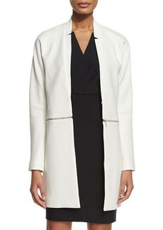 Elie Tahari Adiano Long Coat W/ Zip-Off Hem