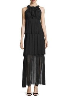 Elie Tahari Alicia Sleeveless Tiered Maxi Dress
