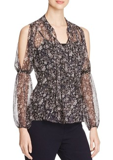 Elie Tahari Annette Floral Silk Cold Shoulder Blouse