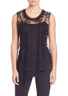 Elie Tahari Audree Embellished Asymmetrical Lace Blouse