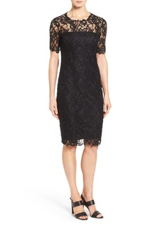 Elie Tahari 'Bellamy' Illusion Yoke & Sleeve Lace Sheath Dress