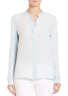 Elie Tahari Blair Knit-Insert Silk Blouse