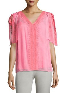 Elie Tahari Brette Silk Short-Sleeve Blouse