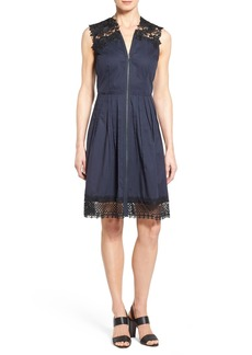 Elie Tahari 'Cady' Lace Trim A-Line Dress