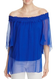 Elie Tahari Calliope Off-the-Shoulder Silk Blouse