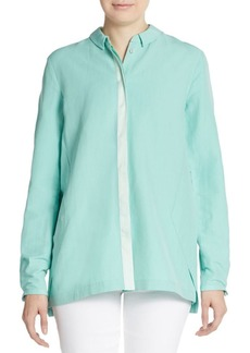 Elie Tahari Carly Blocked Roll-Sleeve Blouse