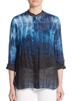 Elie Tahari Carly Mesh-Trimmed Linen & Silk Blouse
