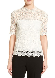 Elie Tahari 'Carolyn' Short Sleeve Lace Blouse