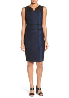Elie Tahari 'Cassandra' Sleeveless Mixed Media Sheath Dress