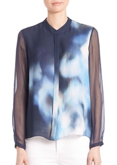 Elie Tahari Chelsea Sheer Long Sleeve Silk Blouse