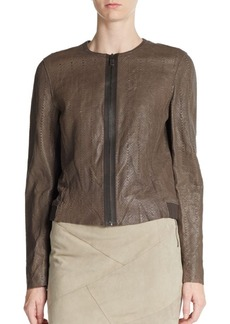Elie Tahari Cleary Knit Paneled-Leather Jacket