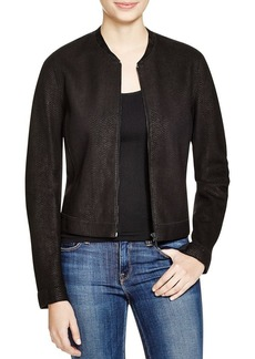 Elie Tahari  Cleary Snake Scale Leather Jacket