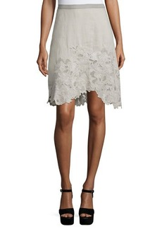 Elie Tahari Connie Embroidered A-Line Skirt