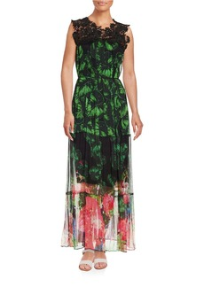 ELIE TAHARI Corinne Lace-Trimmed Floral Maxi Dress