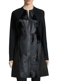Elie Tahari Dawson Leather & Calf-Hair Mid-Length Coat