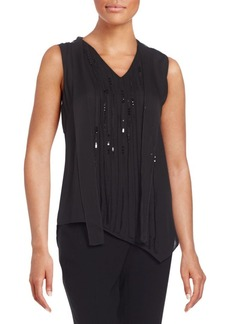 Elie Tahari Dinah Beaded-Front Silk Blouse