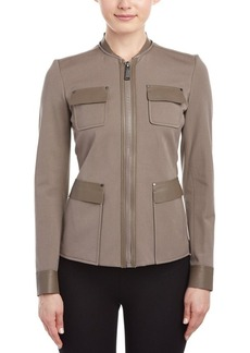 Elie Tahari Elie Tahari Leather-Trim Jacket