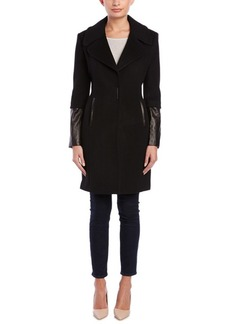 Elie Tahari Elie Tahari Wool & Leather Coat