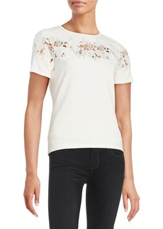 ELIE TAHARI Embroidered Floral Top