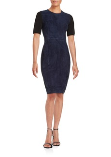 ELIE TAHARI Emily Suede-Paneled Sheath Dress