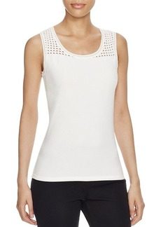 Elie Tahari Geri Perforated Sleeveless Sweater