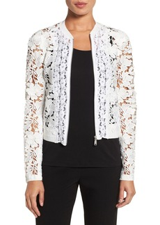 Elie Tahari 'Glenna' Mixed Lace Zip Front Jacket
