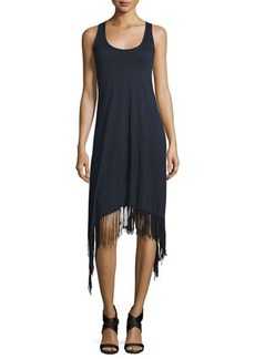 Elie Tahari Ibiza Sleeveless Fringe-Trim Dress