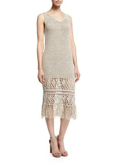 Elie Tahari Jamila Sleeveless Fringe-Trim Dress