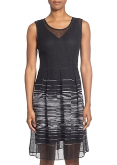 Elie Tahari 'Jessy' Mesh Fit & Flare Dress