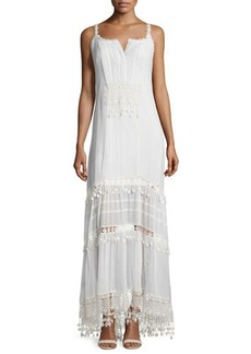 Elie Tahari Keagan Maxi Dress with Crochet Trim  Keagan Maxi Dress with Crochet Trim