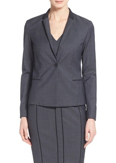 Elie Tahari 'King' Contrast Trim One-Button Suit Jacket